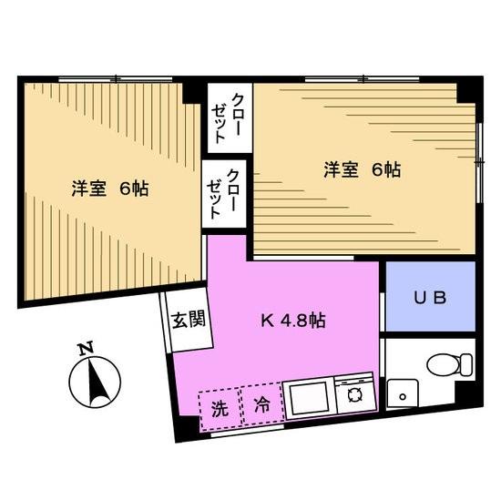 駅近!振り分けタイプの2DK「月村第三光ビル」202号室