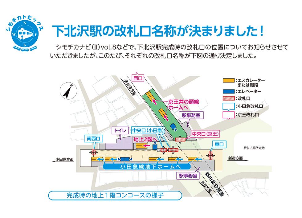 下北沢駅完成時の改札口名称