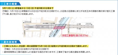 京王井の頭線、5月13日(日)早朝に再び一部運休!