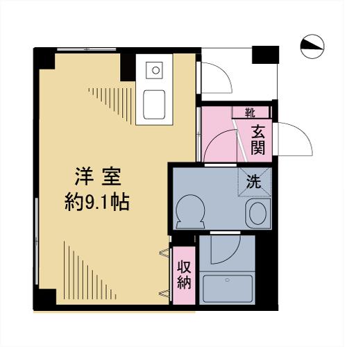 洋室は約9帖!単身者用では広めです。