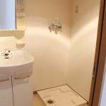 独立洗面台完備。洗濯機置き場も同じ場所にあります。(内装)