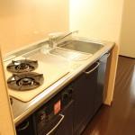 ワイドなシステムキッチン。ダークブルーでお部屋に深みのある色を添えています。(キッチン)