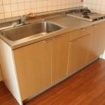 キッチンはガス2口のシステムキッチン。ゆったりとした設計なので調理しやすい。(キッチン)