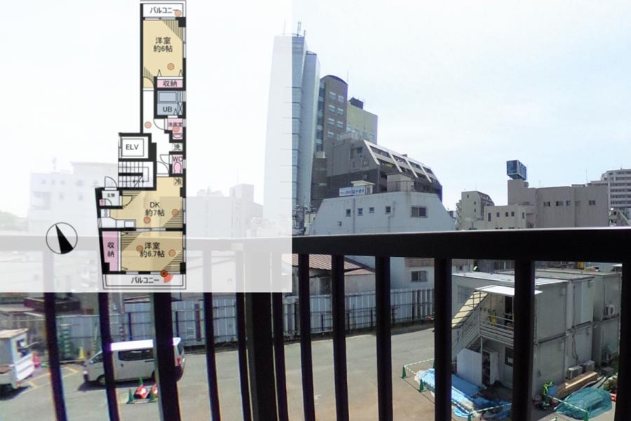 柳川ビル302号室360°パノラマ